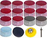 Kit pastiglie per dischi abrasivi, carta abrasiva grana 80-3000 da 2 pollici, piastra di supporto usuale 1/4 'Cuscini in spugna con gambo per utensili rotativi con smerigliatrice (130 pezzi)