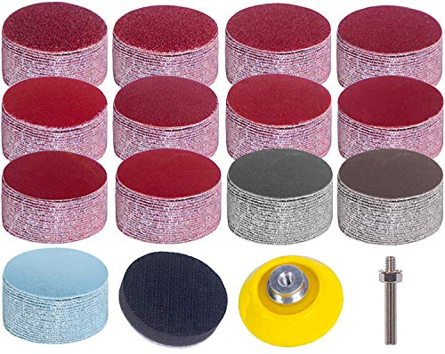 """Schleifscheiben Pad Kit, 2 Zoll 50mm Schleifpapier mit Körnung 80-3000, Uspacific Backer Plate 1/4""""Shank Sponge Cushions für Drill Grinder-Präzisionswerkzeuge (130 Stk.)"""