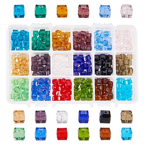 NBEADS A Box of 360 Pcs 8mm Cube Crystal Glass Beads Faceted Square Shape Loose Beads for DIY Jewelry Making