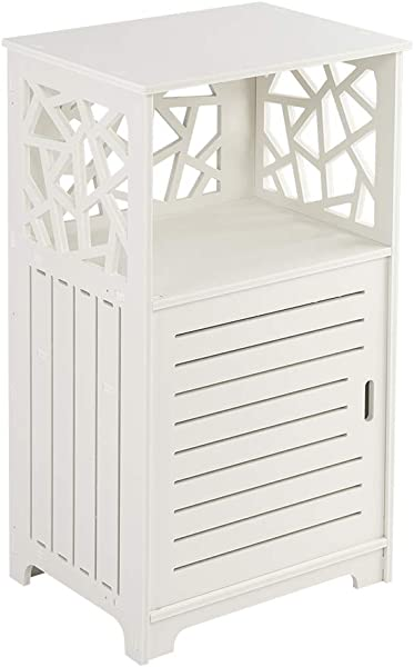 Knocbel 27 5 Height Floor Cabinet Bathroom Side Storage Organizer Freestanding Rack With 1 Door 3 Tier Shelves White