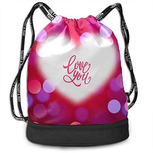 Day Hike Backpack Red Love Best Happiness Gym Drawstring Bags Backpack Sports String Bundle Backpack For Sport With Shoe Pocket Rucksack Backpack