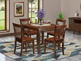 5 PC Kitchen Table set with a Table and 4 Dining Chairs in Mahogany