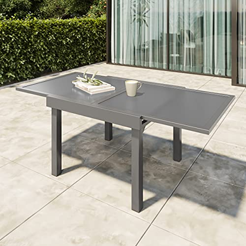 Patio Glass Top Dining Table,VredHom Outdoor Aluminum Extendable...