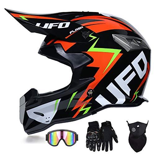 Super-ZS Casco De Moto, con Gafas + Guantes + Máscara Casco Profesional De Motocicleta De Rally Negro Rojo UFO Casco Desmontable Ligero para Adulto