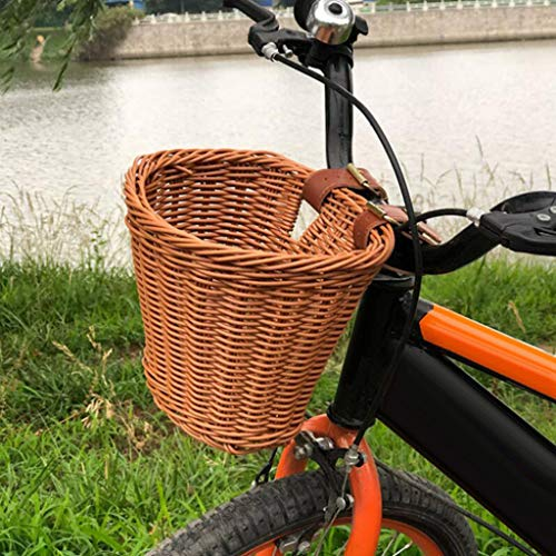 TinaDeer Kids Bicycle Basket, Children's Bicycle Rattan Woven Plastic Storage Basket, Strong Durable Bike Basket With Adjustable Belt, for Most Bicycles Scooters (Brown)