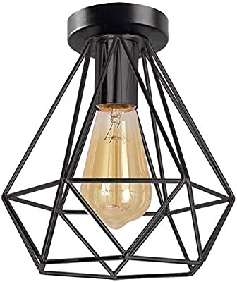 Retro Industrial Vintage Semi Flush Mount Ceiling Light Fixture Pendant Lighting E26 E27 Base Edison Hanging Light for Hallway Stairway Bedroom Porch Kitchen Dining Room Hotel Bar(Bulb No Included)