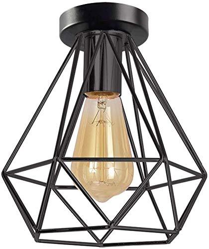 Topdécoré - Lámpara de techo de metal negro con jaula de hierro, lámpara de techo para pasillo, porche, dormitorio, etc. (bombilla E27 no incluida, 20 x 20 cm)