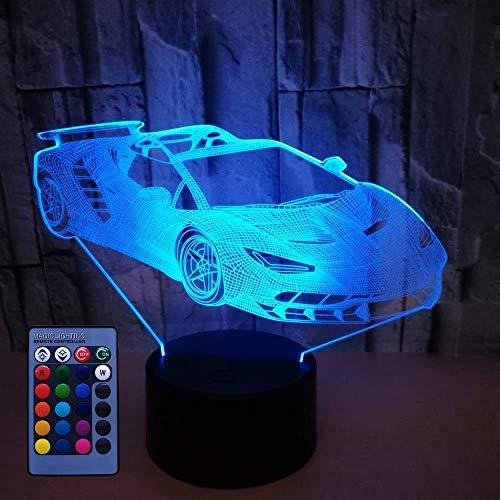 3D Sportwagen Lampe USB Power 7/16 Farben Fernbedienung Optical Illusion 3D LED Lampe Formen Kinder Schlafzimmer Nacht Licht Geburtstag Weihnachten Geschenke
