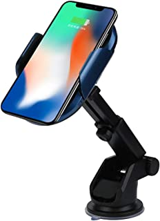 Kuerqi Qi Wireless Car Charger - Air Vent Fan Blade Fast Charging Phone Mount - Auto Clamping Gravity Lock Holder for All Qi Ready Phones - Adjustable Clip and Cable Included (Black)