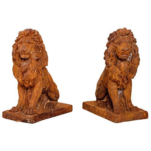 aubaho 2X Sculpture Statue Jardin Figure Lion Rouille Fer Style Antique