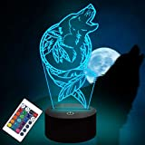 Wolf Illusion 3D lamp,Wolf GiftsKids 3D Night Light Optical Illusion Lamp with 16 Colors Changing Remote Birthday Xmas Valentine