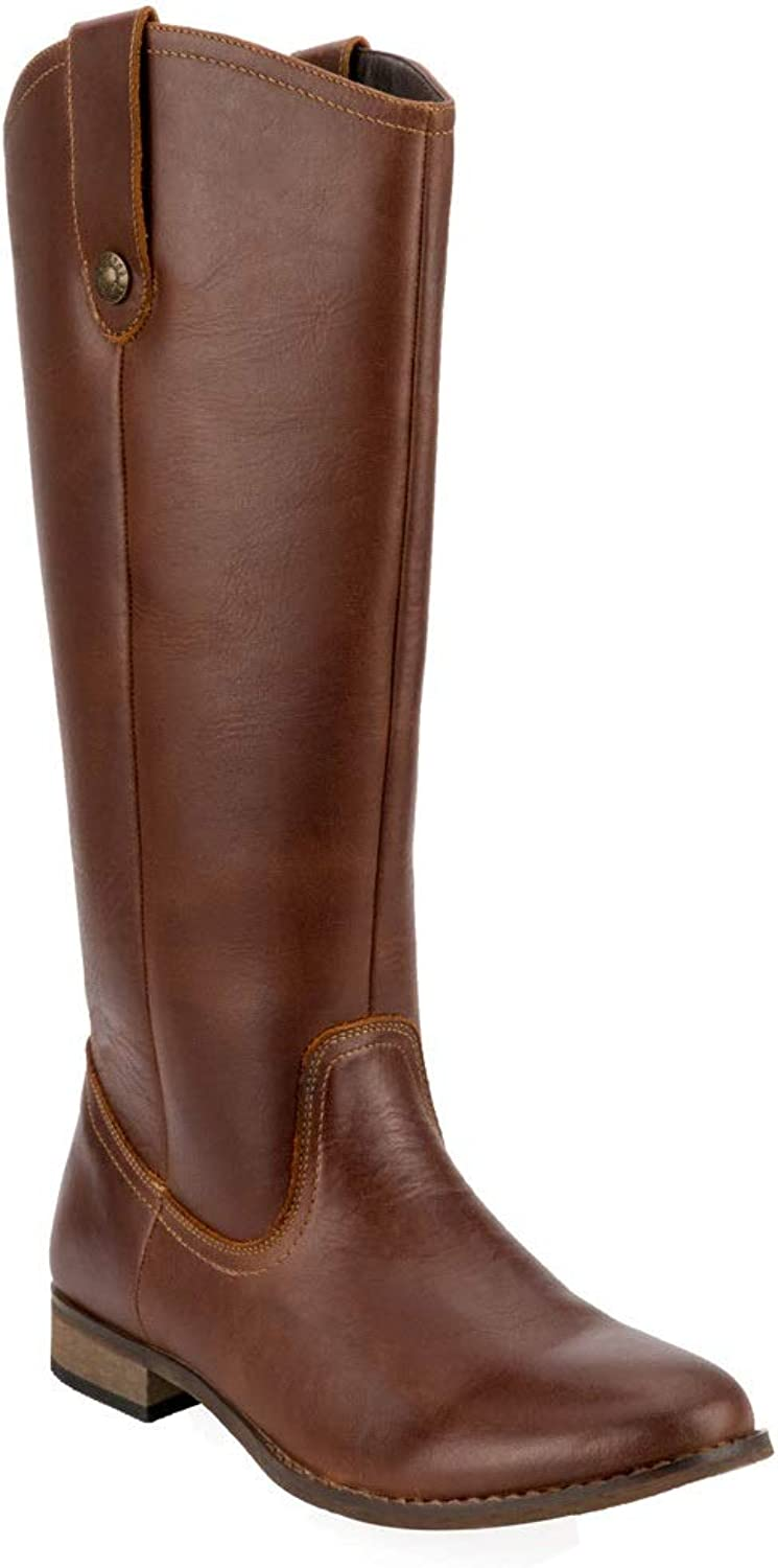 Women's Winter Leather Knee High Riding Boots Wide Calf