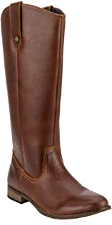 Women's Western Genuine Leather Knee High Riding Boot Wide Calf