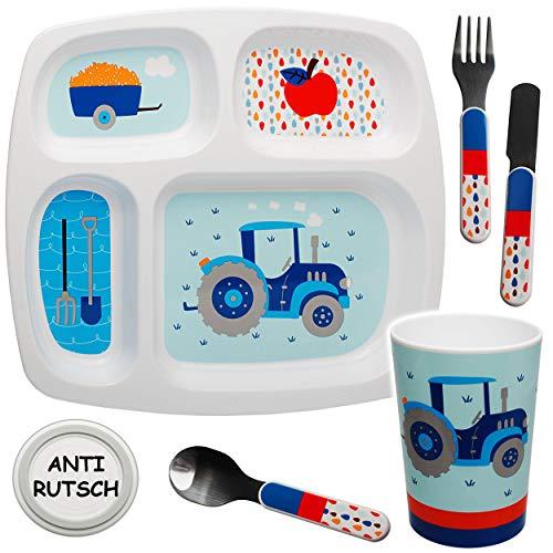 alles-meine.de GmbH 5 TLG. Set - Geschirrset - Traktor & Auto - BPA frei - rutschfest - Babyteller - Trinktasse + Teller + Kinderbesteck - Kindergeschirr - Frühstücksset für Kind..