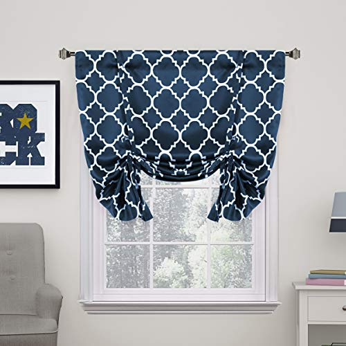 H.VERSAILTEX Thermal Insulated Blackout Curtain - Tie Up Balloon Shade for Small Window (Rod Pocket Panel, 42' W x 63' L, Moroccan Tile Quatrefoil Navy Pattern)