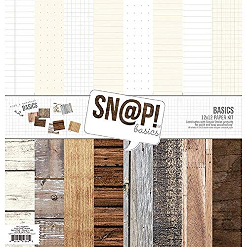 Simple Stories Simple Stories doppelseitig Papier Pack 12 Zoll x 12 Zoll – Snap Farbe Vibe Basics Holz und Notebook, andere, Mehrfarbig