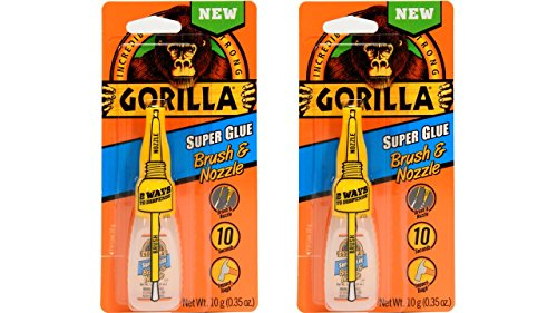 Gorilla Super Glue with Brush amp Nozzle Applicator 12 Gram Clear Pack of 2