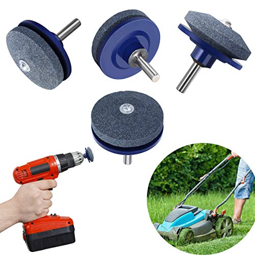 VintageBee 4 Pack Lawnmower Blade Sharpener Lawn Mower Sharpener for Power Drill Hand Drill