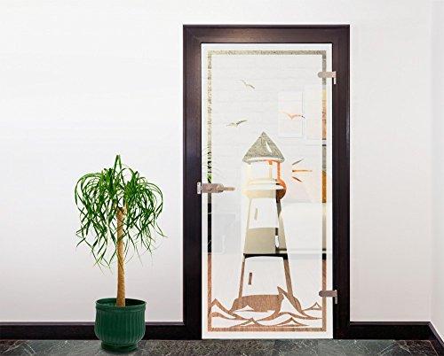 Glasdekor Türfolie Milchglas Leuchtturm I 90x200 cm - Silber - Badezimmer Dusche Büro Glastür Fenster Büro Balkon - Sichtschutz Blickdicht selbstklebend