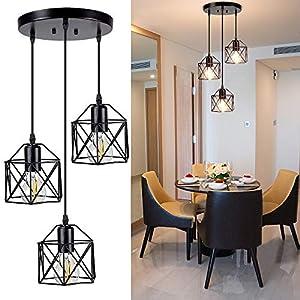 DLLT Vintage Pendant Light, Adjustable Mini Hanging Pendant Lights Fixture with 3-Light Cage Shade, Flush Mount Ceiling Swag Lighting for Kitchen/Dining Room/Hallway/Bedroom, E26 Base (Black)