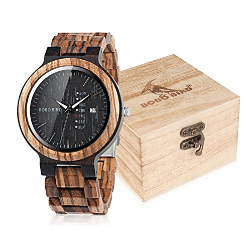 BOBO BIRD Mens Wooden Watch Analog Quartz with Week Display Lightweight Handmade Wood Wrist Watch...