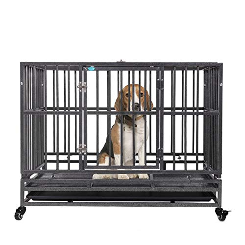 """JAXPETY 37"""" Flat Roof Heavy Duty Dog Cage Strong Metal Kennel and Crate for Dogs Pet Playpen with Four Wheels and Double Door Indoor Outdoor Playpens"""