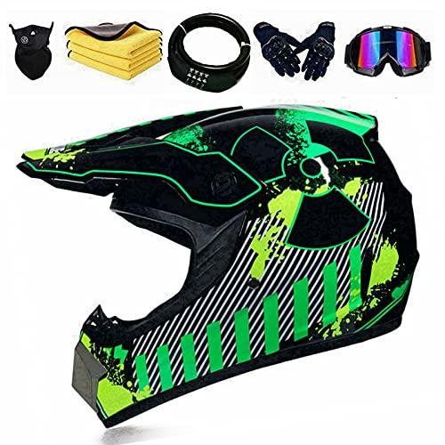 Casco de motocross para niños, incluye 5 regalos como candado de código, adecuado para motocicletas, bicicletas de cross country, motos de campo de campo, Cross Country, S = 54 – 55 cm, radar verde