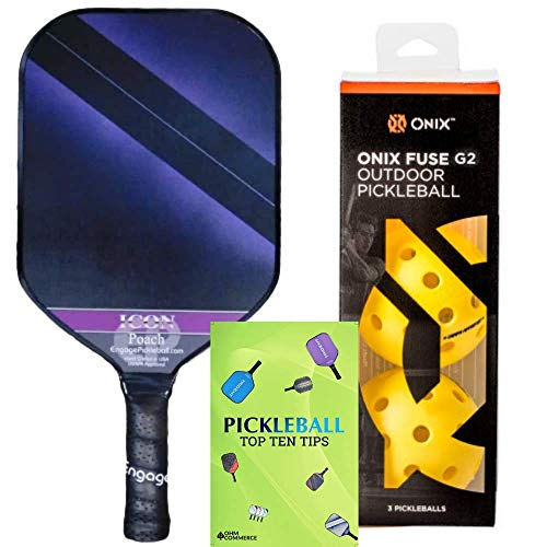 Engage Poach Icon Composite Pickleball Paddle & Onix 3-Pack Fuse G2 Pickleball Balls & Free Pickle Ball Tips - Pickleball Set for Beginners and Pros