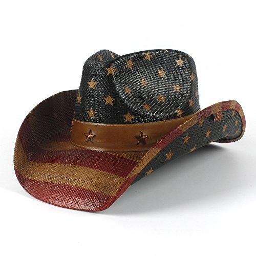 ZLQ 4 Style National Flag Cowboy Hat for Women Men Fedora Hat Sun Hat Cowboy Hats (Color : 4, Size : 58-59cm)