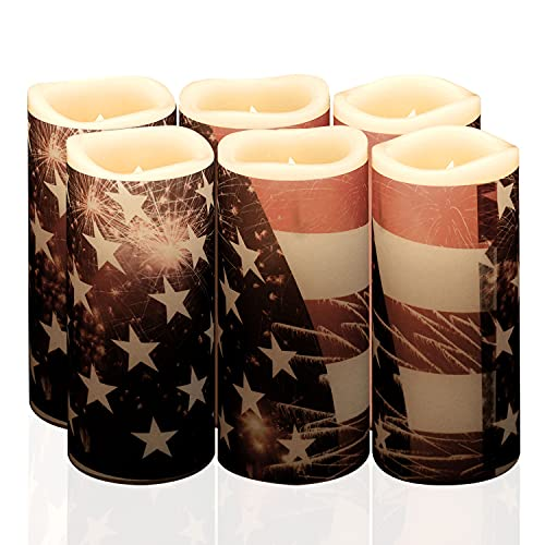 Halloween Decorations Candles Battery Operated, 7 Festive Sleeves 6 Packs (H5x D2.2') Flickering Flameless Candles with Timer Remote Control Thanksgiving Christmas 4th July Table Centerpieces