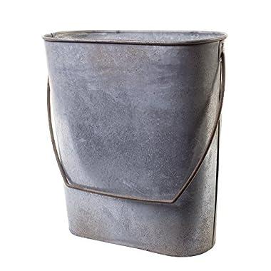 Farm Cottage Farmhouse Galvanized Tin Storage Organization Hanging Bucket Basket Pocket Holder Container with Handle, for Kitchen, Bath, Indoor/ Outdoor Antique Vintage Primitive Style Decor