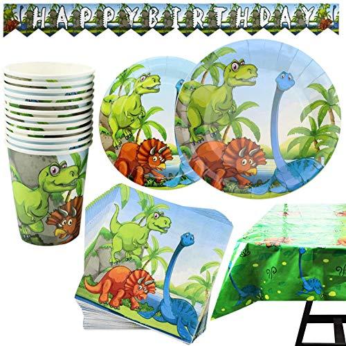 Kompanion 102-teiliges Dinosaurier Party Set mit Banner, Tellern, Tassen, Servietten, Tischtüchern, für 25 Personen