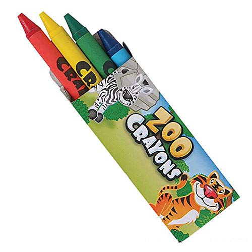 Kicko Zoo Animal Crayon Set - 144 Packs of 4 Crayons - Perfect for School and Office Supplies, Arts and Crafts, DIY Projects, Painting, Color Collection
