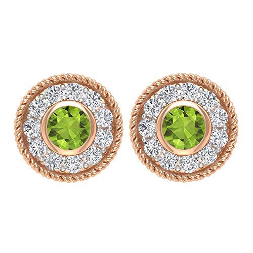 Pendientes de cuerda, pendientes de halo de oro, gemas redondas de 1/3 quilates, diamantes HI-SI de 2,50 mm, peridoto de diseño, filigrana, pendientes de bisel, rosca trasera verde