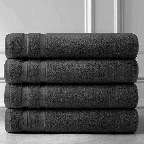 Toallas de baño de algodón egipcio de lujo de secado rápido y absorbente, extra suaves, toallas grandes para hotel y spa, 6900 g/m² (80 x 140 cm), color gris