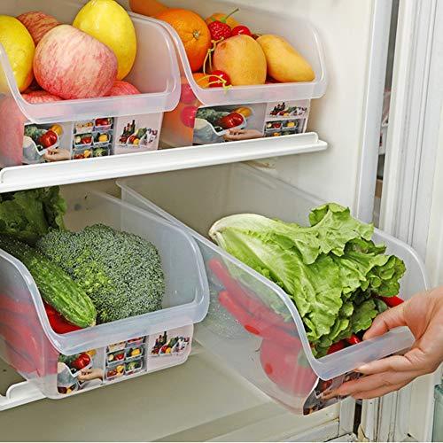 PCLRXA Hometrainers, 4 stuks, eenvoudige multifunctionele keuken, koelkast, vrieskast, ruimtebesparend, bewaardoos, koelkast, opslagrek, rek, home keuken, organiseren, opberggereedschap