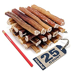 ValueBull Bully Sticks, Thick 6 Inch, Low Odor, 25 Count – All Natural Dog Treats, 100% Beef Pizzles, Single Ingredient Rawhide Alternative