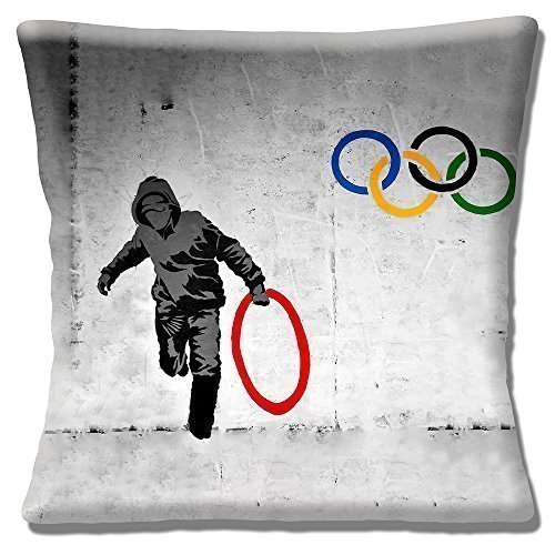 Banksy Graffiti Artist 'Stealing and Olympic Ring' Grey- 16' (40cm) Pillow Cushion Cover