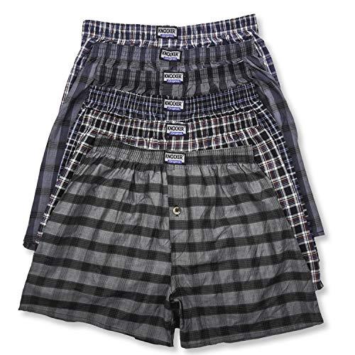 Knocker Men's 6 Cotton Plaid Boxer Shorts Underwear-3XL-Assorted