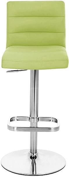 Zuri Furniture Lime Green Lush Adjustable Height Swivel Armless Bar Stool With Chrome Base