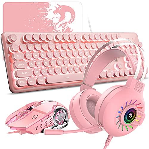 Wired Pink 4-in-1-Gaming-Tastatur Maus-Combo-Set 104 Tasten LED Rainbow Backlit Gaming-Tastatur + 2400DPI 6 Tasten Optische Maus + Regenbogen-Atemlicht-Gaming-Headset + Mäuse-Pad für Laptop-Computer