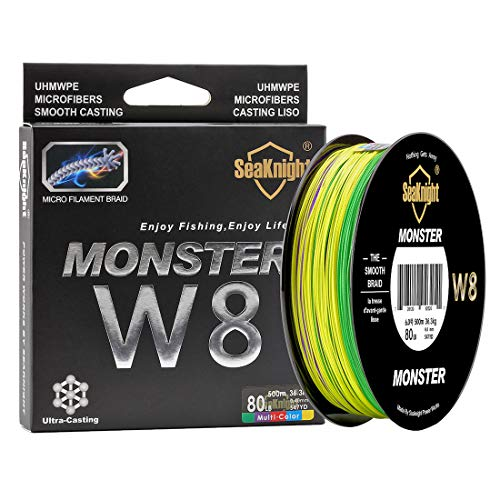 SeaKnight Monster W8 Braided Lines 8 Strands Weaves 500M/547Yards Super Smooth PE Braided Multifilament Fishing Lines for Sea Fishing 15-100LB (Multi-Color, 0.8#:15LB/Diam:0.14mm/328Yds/300M)