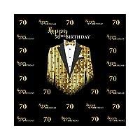 DORCEV 8 x 8フィート Happy 70歳の誕生日背景 紳士 70歳 誕生日パーティー 写真背景 ゴールドタキシード 服 ネクタイ 父 70歳 誕生日パーティー バナー 大人用 フォトスタジオ小道具