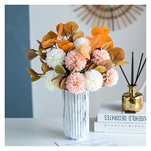 YONGYONGMY Künstliche Blumen Ball Chrysantheme Künstliche Blume Hochzeit Dekoration Modern Eukalyptus Home Decoration DIY Bridal Bouquet Esstisch (Color : Yellow with vase)