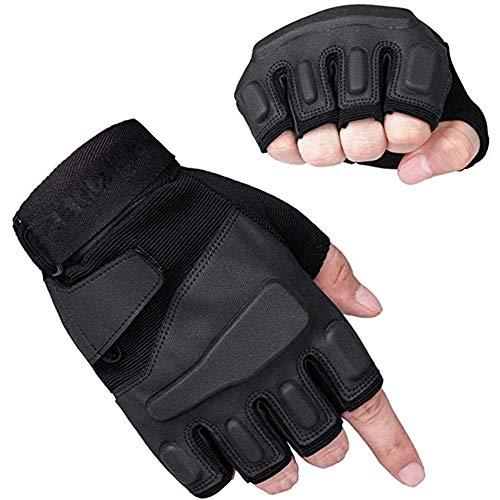 YFGRD Outdoor Motorbike Gloves Mountaineering Rock Climbing Motorcycle Mountain Bike Gloves Windproof Half Finger Gloves,Black,XL