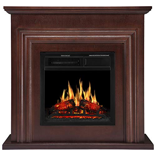 JAMFLY 36'' Wood Electric Fireplace Mantel Package Freestanding Heater Corner Firebox with Log Hearth and Remote Control, 750-1500W Dark Espresso Finish