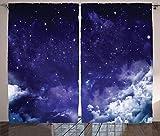 ABAKUHAUS Espacio Cortinas, Noche de ensueño con Las Estrellas, Sala de Estar Dormitorio Cortinas Ventana Set de Dos Paños, 280 x 175 cm, Blanco púrpura