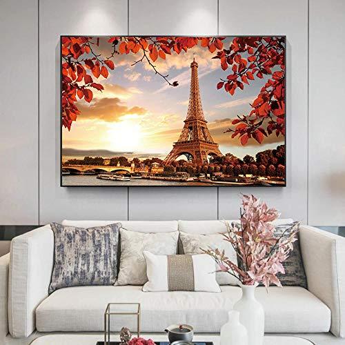 SNGTOW Pareja de Ciudad romántica París Torre Eiffel Paisaje Pintura en Lienzo Carteles e Impresiones Cuadro de Arte de Pared para la decoración del hogar de la Sala de Estar | 60X80cm sin Marco