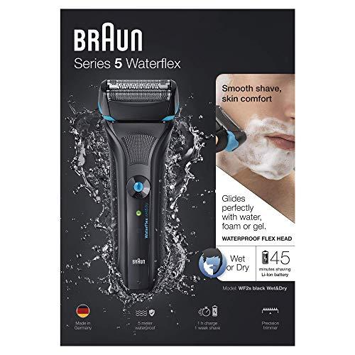Braun Series 5 WaterFlex WF2s elektrischer Rasierer, Wet und Dry, wiederaufladbar und kabellos, schwarz