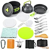 Sportneer 18Pcs Camping Cookware Set Stove Canister Stand Tripod Camp Cooking Set Backpacking Stove Kit Anti-Stick/Slip Pans Kettle Plates Stainless Steel Folding Knife Fork Cutting Board Carabiner